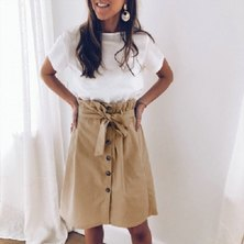 WOVEN FABRIC 'PAPERBAG' STYLE KNEE LENGTH BUTTONTHRU SKIRT WITH TIE BELT DETAIL