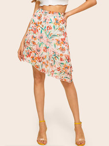 TROPICAL FLORAL PRINTED CHIFFON ASYMMETRICAL MINI SKIRT WITH DOUBLE FRILL TIERED HEM & ELASTIC BACK WAIST DETAIL