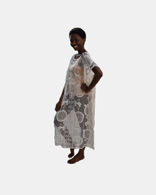 SKA Long Lace Kaftan White