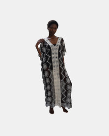 SKA Long Lace Kaftan Black and White
