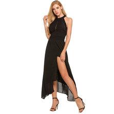 JAVING BLACK CHIFFON EVENING MAXI DRESS WITH SIDE LEG SLIT