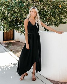 JAVING SUMMER BLACK STRAPPY STYLE MAXI DRESS WITH HANKY HEM & BACK CROSSOVER TIE DETAIL