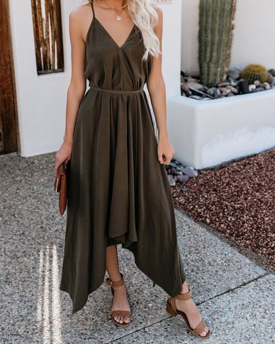 JAVING SUMMER OLIVE STRAPPY STYLE MAXI DRESS WITH HANKY HEM & BACK CROSSOVER TIE DETAIL