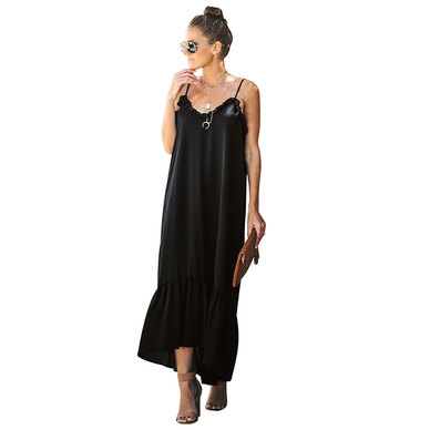 FLARED STRAPPY STYLE MAXI DRESS WITH LOW BACK, FRILL TRIM & TIERED HEM DETAIL