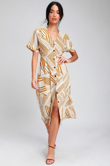 GEOMETRIC STRIPE PRINTED BUTTONTHRU MIDI LENGTH DRESS WITH TURN-UP SHORTSLEEVES & FRONT INSET POCKETS