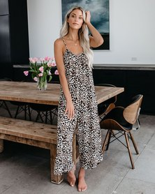 LEOPARD PRINT STRAPPY STYLE LOOSE FIT WIDE LEG JUMPSUIT
