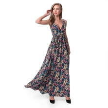 PRINTED SLEEVELESS FLARED MAXI DRESS WITH FRONT & BACK 'V' DETAIL