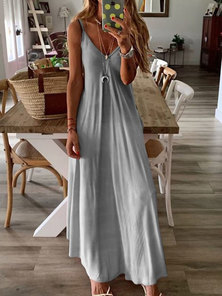 DIP-DYE PRINTED STRAPPY STYLE MAXI DRESS WITH FRONT PLEAT DETAIL