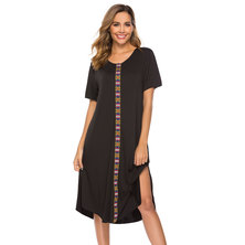 LOOSE T-SHIRT STYLE MIDI LENGTH DRESS WITH TRIBAL PRINTED FRONT TAPE DETAIL & SIDE SLITS
