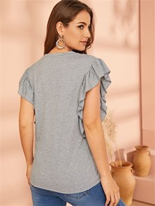 SLIM FIT T-SHIRT WITH SIDE RUFFLE TRIM DETAIL