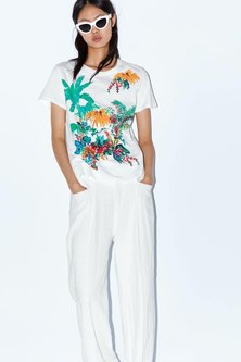 COTTON SHORTSLEEVE FASHION T-SHIRT WITH FRONT TROPICAL PRINT