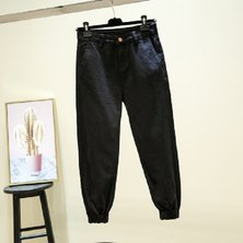 RIGID DENIM MID RISE SLOUCHY JEANS WITH ELASTICATED CUFF & SLANTED SIDE POCKET  DETAIL