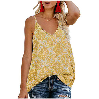 TILE PRINT CASUAL STRAPPY CAMI STYLE TOP