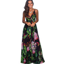 TROPICAL PRINTED STRAPPY STYLE MAXI DRESS WITH WRAP BODICE & V'BACK DETAIL