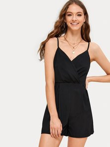 WRAP FRONT STRAPPY STYLE PLAYSUIT WITH WAIST CUTLINE, FRONT PLEAT & BACK ZIP  DETAIL