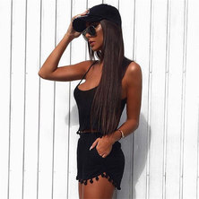 BEACH STYLE COTTON KNIT STRAPPY CAMI & JOGGER SHORT SET WITH POMPOM TRIMS