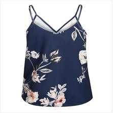 PRINTED STRAPPY STYLE CAMI TOP WITH WRAP FRONT DETAIL