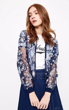 SHEER FLORAL EMBROIDERED FABRIC BOMBER STYLE JACKET WITH KNIT RIB TRIMS