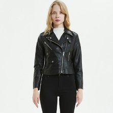 MOCK LEATHER BIKER STYLE JACKET WITH FRONT FLAP COIN POCKET & DOUBLE STRAP COLLAR FASTENING DETAIL