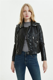MOCK LEATHER BIKER STYLE JACKET WITH FRONT ZIP POCKET & SHOULDER TAB DETAIL