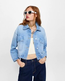 BLEACHED FABRIC  CROPPED DENIM JACKET WITH OVERSIZED FRONT POCKETS