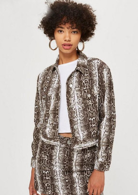 SNAKE PRINTED WOVEN FABRIC 'DENIM' STYLE CROPPED JACKET