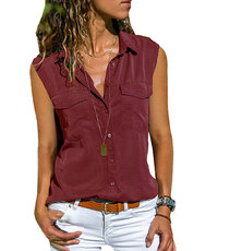 SLEEVELESS UTILITY STYLE BLOUSE WITH FRONT POCKET & SHOULDER TAB DETAIL