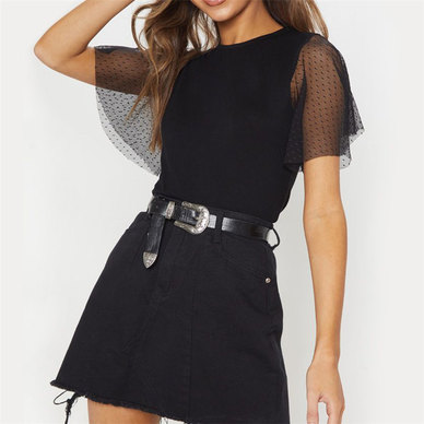 KNIT T-SHIRT WITH SPOTTED MESH FABRIC FLOUNCE SLEEVES