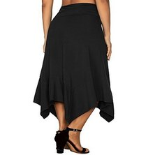 KNIT FABRIC A-LINE MIDI LENGTH SKIRT WITH HANKY HEM & WIDE RUCHED WAISTBAND DETAIL