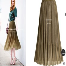 MICRO PLEATED SHIMMER FABRIC MIDI LENGTH SKIRT WITH ELASTIC WAISTBAND SHIMMER TAUPE