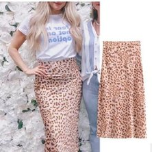 LEOPARD PRINTED KNIT FABRIC MIDI LENGTH PENCIL SKIRT WITH WAISTBAND & SIDE ZIP DETAIL