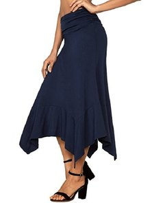 KNIT FABRIC A-LINE MIDI LENGTH SKIRT WITH HANKY HEM & WIDE RUCHED WAISTBAND DETAIL NAVY