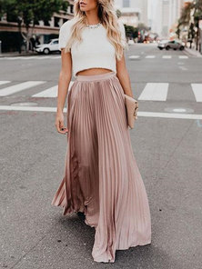FULL CIRCLE PLEATED EXTRA LONG MAXI LENGTH SKIRT PALE PINK