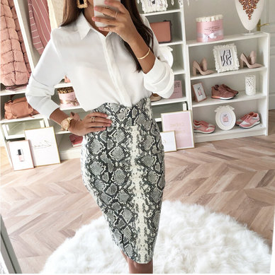 SNAKE PRINT KNIT FABRIC MIDI LENGTH BODYCON PENCIL SKIRT WITH SHAPED FRONT WAISTBAND DETAIL