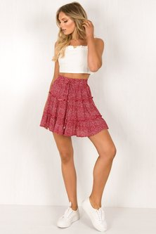 WOVEN PRINT FABRIC FLARED + TIERED MINI LENGTH SKIRT WITH ELASTIC & DRAWSTRING WAISTBAND DETAIL