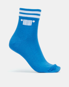 Jeep 3 Pack Anklet Socks Black/White/ Blue