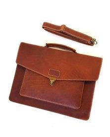 The Wanderer Handcrafted Hudson Leather Laptop Bag Oak
