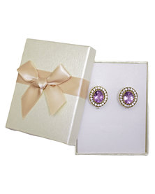 Fino 925 Sterling Silver Earrings-Amethyst in brass
