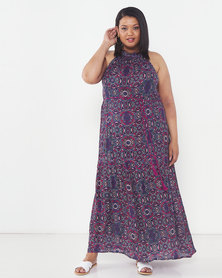 Brave Soul Plus Size All Over Printed High Neck Maxi Multi