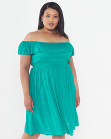 Brave Soul Plus Size All Over Off Shoulder Midi Length Dress Emerald Green Dress