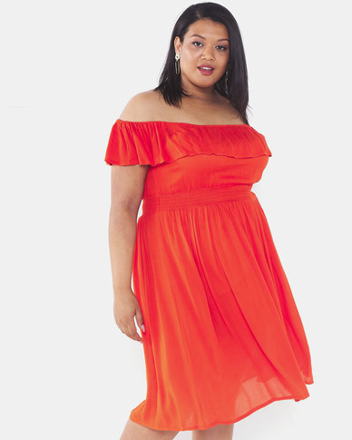 Brave Soul Plus Size All Over Off Shoulder Midi Length Dress Tomato Red