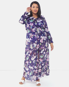 Brave Soul Plus Size Long Length Beach Cover Up Navy