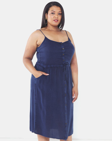 Brave Soul Plus Size Button Through Dress Indigo