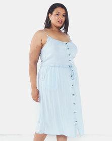 Brave Soul Plus Size Button Through Dress Pale Blue