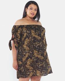 Brave Soul Plus Size Bardot Dress with Tie Up Detail Jungle Print