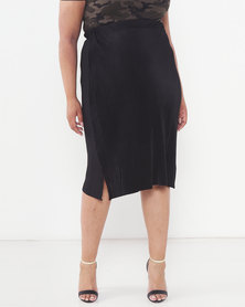 Brave Soul Plus Size Midi Length Skirt Black