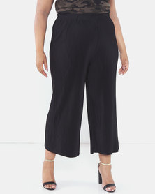 Brave Soul Plus Size Wide Leg Trousers Black