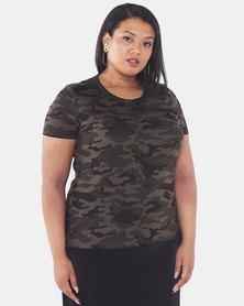 Brave Soul Plus Size Camo Print T-Shirt Green