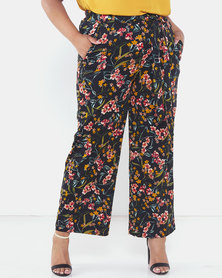 Brave Soul Plus Size Printed Wide Leg Trousers Navy