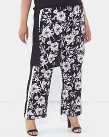 Brave Soul Plus Size Flower Printed Wide Leg Trousers Navy